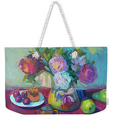 Weekender Tote Bag featuring the painting Belgian Creamer And Sugar by Diane McClary