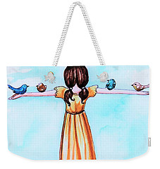 Weekender Tote Bag featuring the painting Believe by Elizabeth Robinette Tyndall
