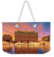 Bellagio Fountains Warm Sunset 2 To 1 Ratio Weekender Tote Bag