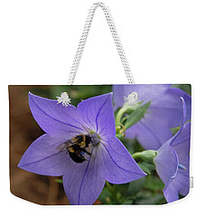 Weekender Tote Bag featuring the photograph Bellflower And Bee  by Marie Hicks