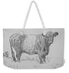 Belted Galloway Cow Pencil Drawing Weekender Tote Bag