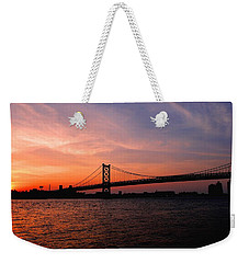 Ben Franklin Bridge Sunset Weekender Tote Bag