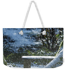 Weekender Tote Bag featuring the photograph Bench In Snow by Rebecca Cozart