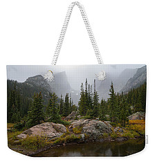 Weekender Tote Bag featuring the photograph Beneath Hallett Peak by Dustin LeFevre