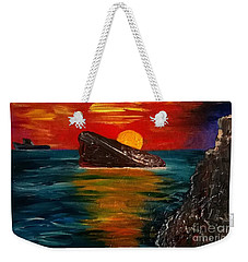 Weekender Tote Bag featuring the painting Benidorm by Jeepee Aero