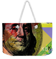 Weekender Tote Bag featuring the digital art Benjamin Franklin - $100 Bill by Jean luc Comperat
