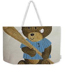 Weekender Tote Bag featuring the painting Benny Bear Baseball by Tamir Barkan