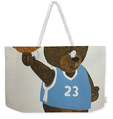 Weekender Tote Bag featuring the painting Benny Bear Basketball  by Tamir Barkan