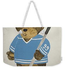 Weekender Tote Bag featuring the painting Benny Bear Hockey by Tamir Barkan