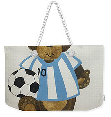 Weekender Tote Bag featuring the painting Benny Bear Soccer by Tamir Barkan