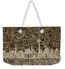 Berlin City Skyline Abstract Brown Weekender Tote Bag by Bekim Art