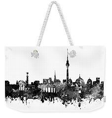 Berlin City Skyline Black And White Weekender Tote Bag by Bekim Art