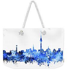Berlin City Skyline Blue Weekender Tote Bag by Bekim Art