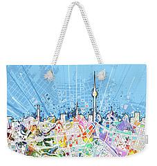 Berlin City Skyline Map Weekender Tote Bag by Bekim Art