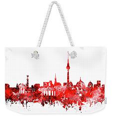 Berlin City Skyline Red Weekender Tote Bag by Bekim Art