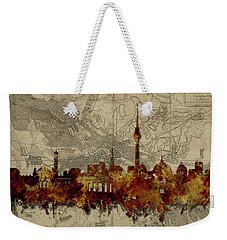 Berlin City Skyline Vintage Weekender Tote Bag by Bekim Art