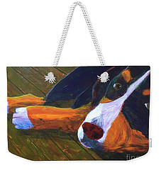 Bernese Mtn Dog On The Deck Weekender Tote Bag by Donald J Ryker III