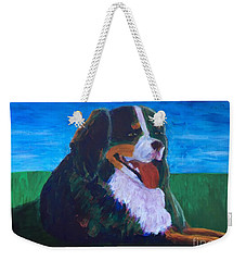 Weekender Tote Bag featuring the painting Bernese Mtn Dog Resting On The Grass by Donald J Ryker III