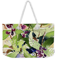 Weekender Tote Bag featuring the painting Berry Bouquet by Kris Parins