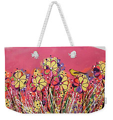 Berry Pink Flower Garden Weekender Tote Bag