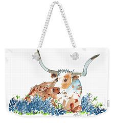 Bessie In The Bluebonnets Watercolor Painting By Kmcelwaine Weekender Tote Bag