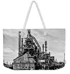 Bethlehem Pa Steel Plant  Side View In Black And White Weekender Tote Bag by Bill Cannon
