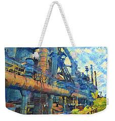 Bethlehem Steel Mill Watercolor Weekender Tote Bag by Bill Cannon