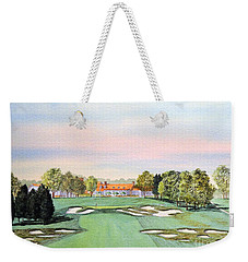 Weekender Tote Bag featuring the painting Bethpage State Park Golf Course 18th Hole by Bill Holkham