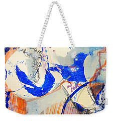 Weekender Tote Bag featuring the mixed media Between Branches by Mary Schiros