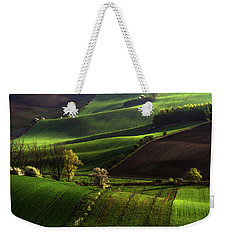 Weekender Tote Bag featuring the photograph Between Green Waves by Jenny Rainbow