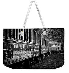 Weekender Tote Bag featuring the photograph Between Trains by Mitch Shindelbower
