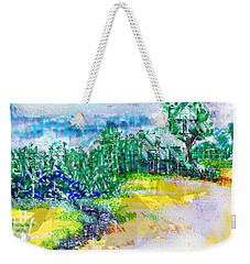 Weekender Tote Bag featuring the drawing Beyond The Clouds by Seth Weaver