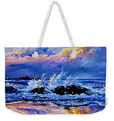 Weekender Tote Bag featuring the painting Beyond The Rocks by Hanne Lore Koehler