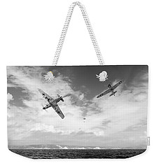 Weekender Tote Bag featuring the photograph Bf109 Down In The Channel Bw Version by Gary Eason