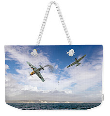 Weekender Tote Bag featuring the photograph Bf109 Down In The Channel by Gary Eason