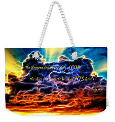 Weekender Tote Bag featuring the photograph Biblical Electrified Cumulus Clouds Skyscape - Psalm 19 1 by Shelley Neff