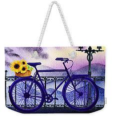 Blue Bicycle And Sunflowers By Irina Sztukowski  Weekender Tote Bag