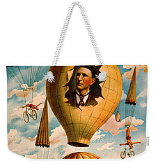 Weekender Tote Bag featuring the photograph Bicycle Parachute Act 1896 by Padre Art