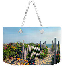Weekender Tote Bag featuring the photograph Bicycle Rest by Madeline Ellis