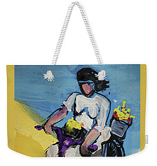 Bicycle Riding With Baskets Of Flowers Weekender Tote Bag
