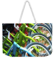 Weekender Tote Bag featuring the photograph Bicycles On Florida County Road 30-a by Mel Steinhauer