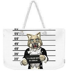 Weekender Tote Bag featuring the digital art Big Bad Wolf Mugshot by Methune Hively