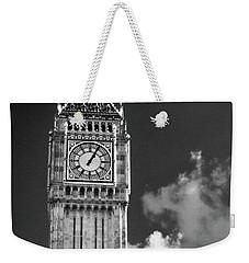 Big Ben And Clouds Bw Weekender Tote Bag