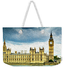 Big Ben And Houses Of Parliament With Thames River Weekender Tote Bag