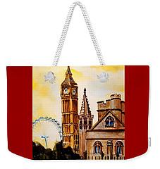 Big Ben And London Eye - Art By Dora Hathazi Mendes Weekender Tote Bag by Dora Hathazi Mendes