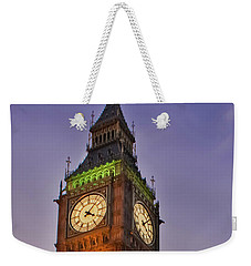 Weekender Tote Bag featuring the photograph Big Ben Twilight In London by Terri Waters