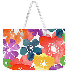 Big Bright Flowers Weekender Tote Bag by Linda Woods