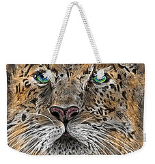 Weekender Tote Bag featuring the digital art Big Cat by Darren Cannell