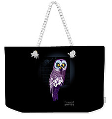 Weekender Tote Bag featuring the digital art Big Eyed Owl by Mariella Wassing