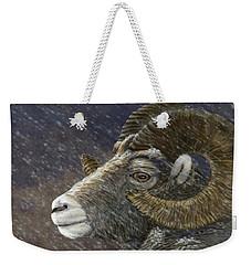 Big Horn In Snowstorm Weekender Tote Bag by Kathie Miller